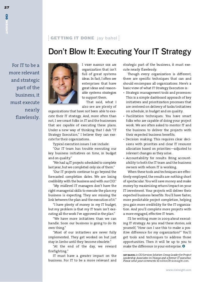 27CIOINSIGHT                                GettinG it done jay bahel                               Don't Blow It: Executi...