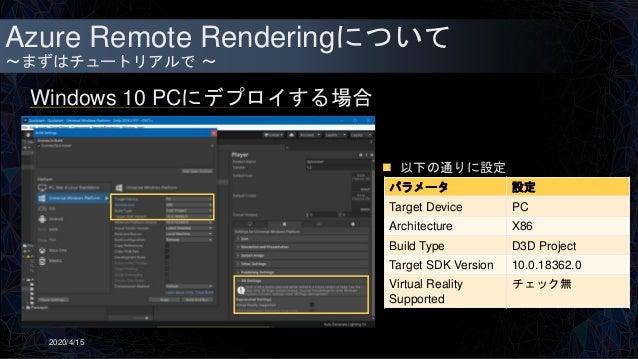 Azure Remote Renderingについて ~まずはチュートリアルで ~ Windows 10 PCにデプロイする場合 2020/4/15  以下の通りに設定 パラメータ 設定 Target Device PC Architectu...