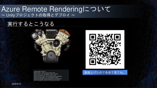 Azure Remote Renderingについて ~ Unityプロジェクトの取得とデプロイ ~ 実行するとこうなる 2020/4/15 動画上げたので各自で見てね。