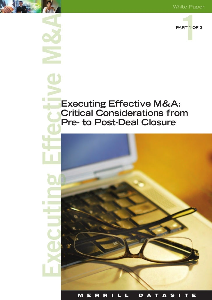White Paper                             PART 1 OF 3Executing Effective M&A:Critical Considerations fromPre- to Post-Deal C...