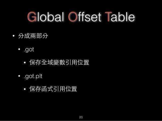 Global Offset Table • 分成兩部分 • .got • 保存全域變數引⽤用位置 • .got.plt • 保存函式引⽤用位置 20