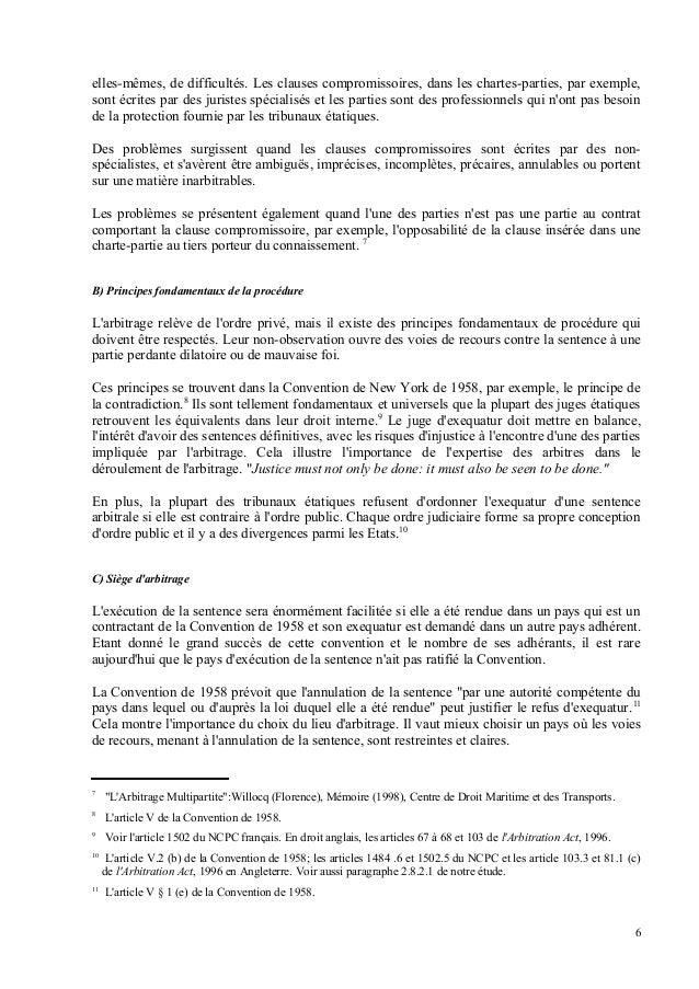 Execution de la sentence arbitrale for Portent in a sentence