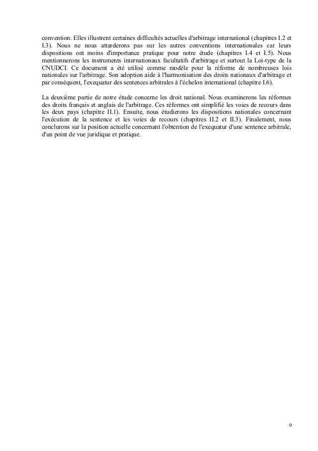 Execution de la sentence arbitrale for Chambre arbitrale