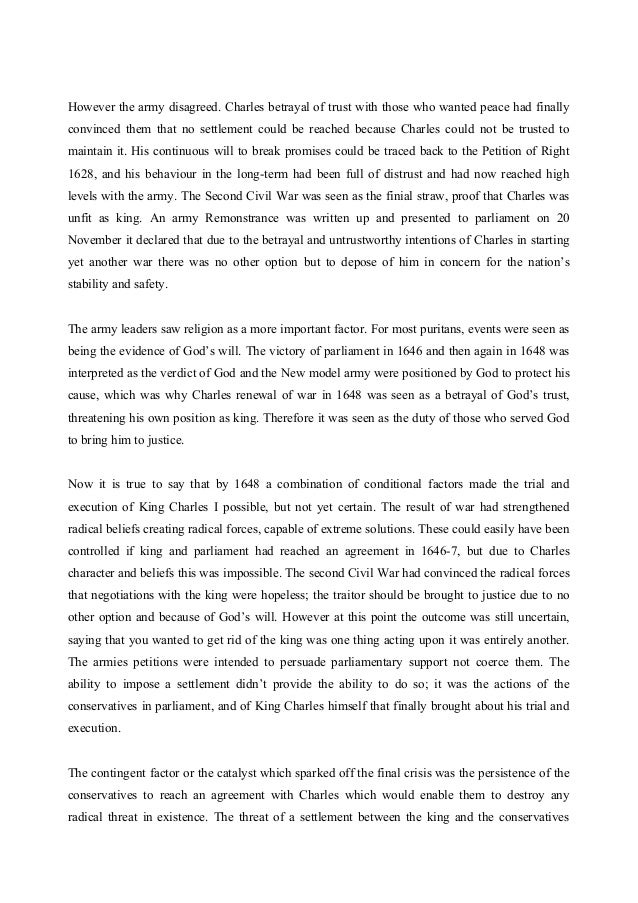 execution of king charles i essay Find out more about the king of england during this bloody era charles i was the first of our monarchs to be put on trial an analysis of the execution of king.