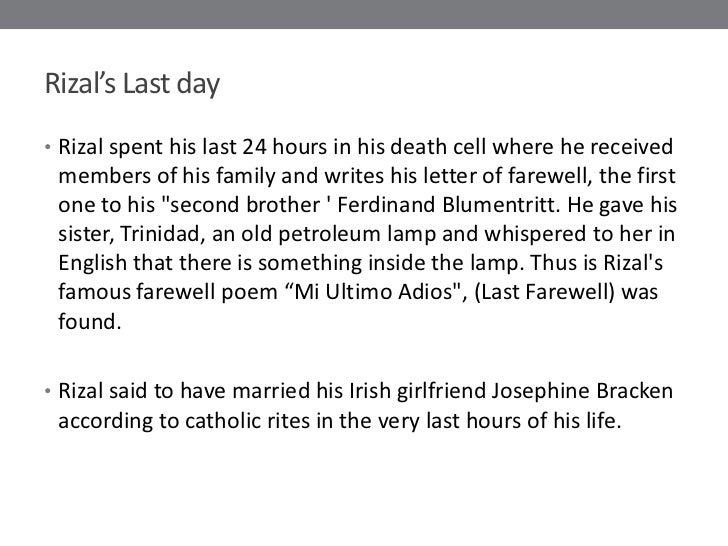 Summary of rizal s last farewell poem