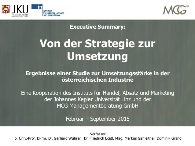 1 www.mcg-experts.com office@mcg-experts.comMCG Management Contracting Group Executive Summary: Von der Strategie zur Umse...