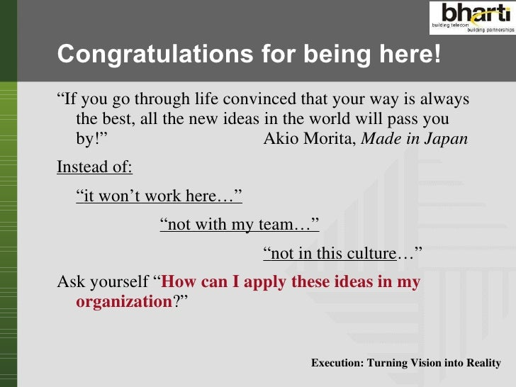 Execution turning vision into reality Slide 2