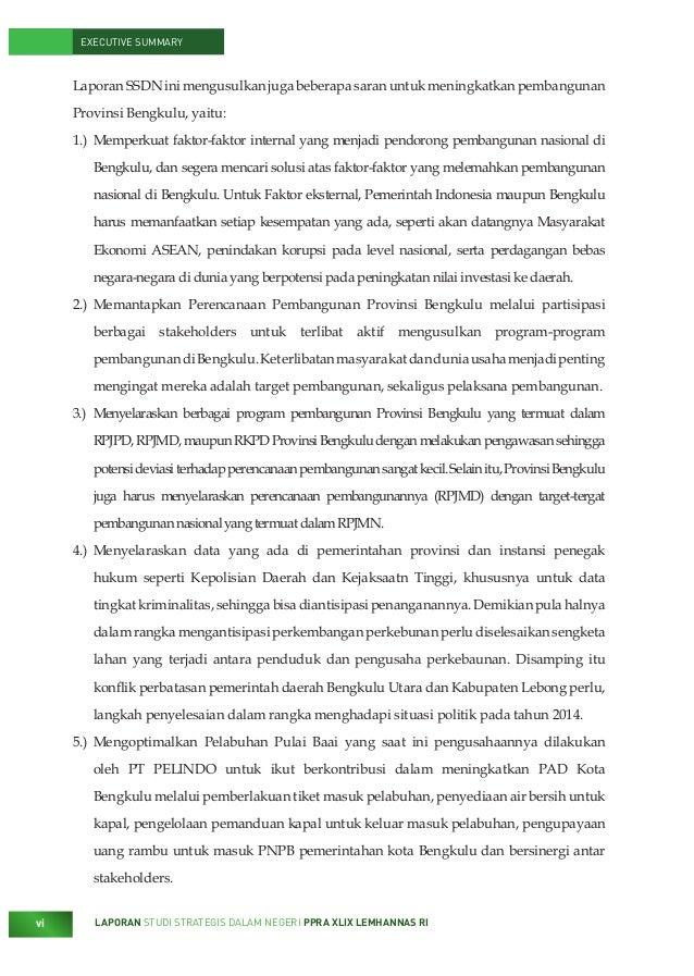 Executive Summary Laporan Studi Strategis Dalam Negeri Tentang Pemb