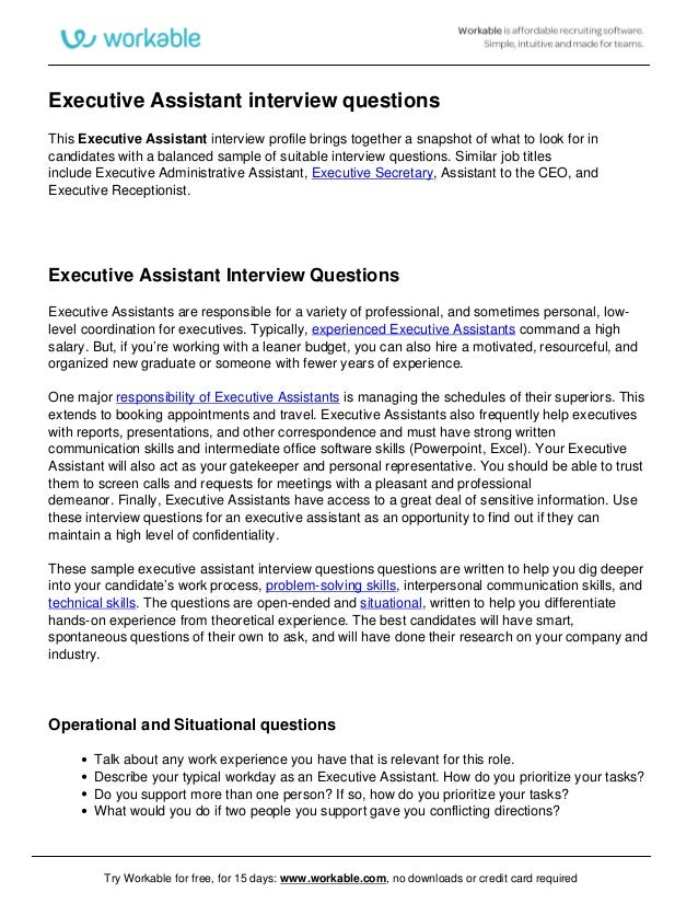 Executive Assistant Interview Questions This Executive Assistant Interview  Profile Brings Together A Snapshot Of What To ...  Executive Assistant Skills