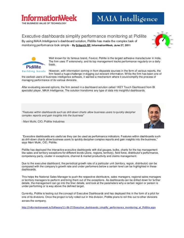 Executive dashboards simplify performance monitoring at PidiliteBy using MAIA Intelligence's dashboard solution, Pidilite ...