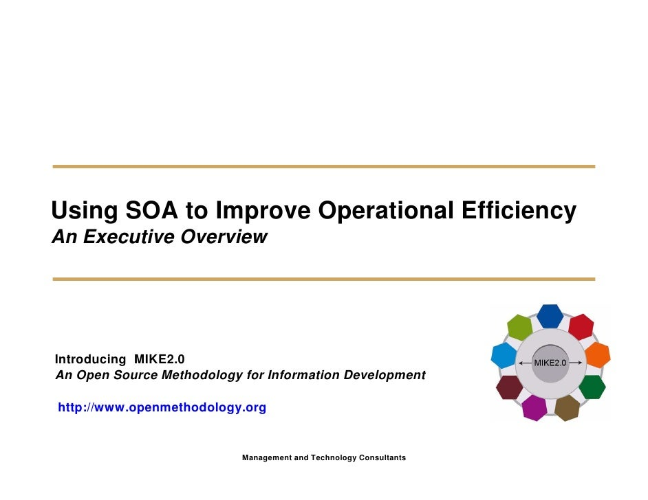 Using SOA to Improve Operational Efficiency An Executive Overview     Introducing MIKE2.0 An Open Source Methodology for I...