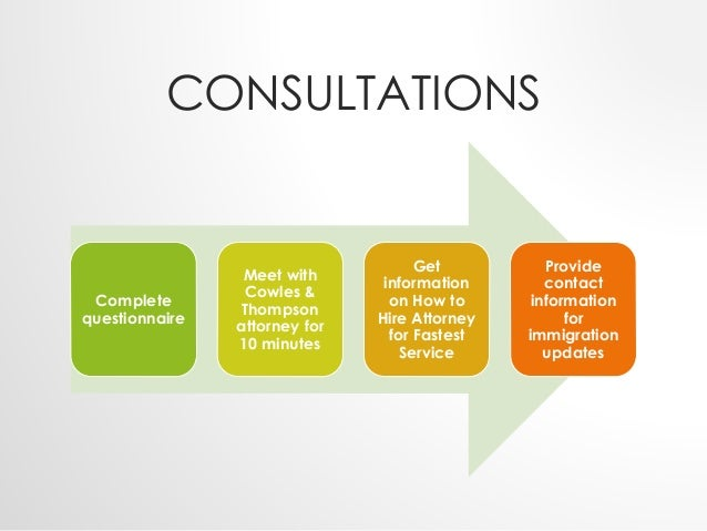 CONSULTATIONS  Complete  questionnaire  Meet with  Cowles &  Thompson  attorney for  10 minutes  Get  information  on How ...