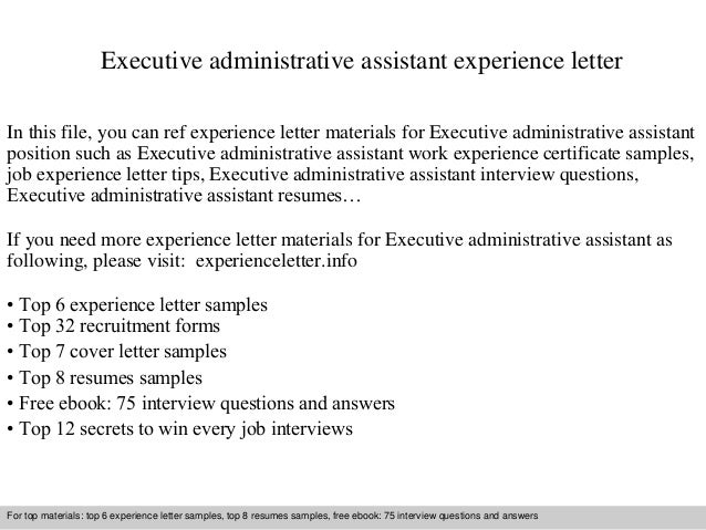 Executive administrative assistant experience letter executive administrative assistant experience letter in this file you can ref experience letter materials for experience letter sample spiritdancerdesigns Images