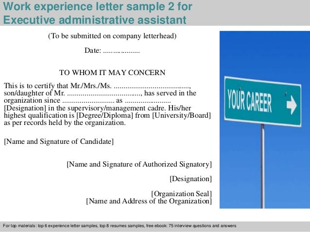 3 work experience letter sample 2 for executive administrative assistant