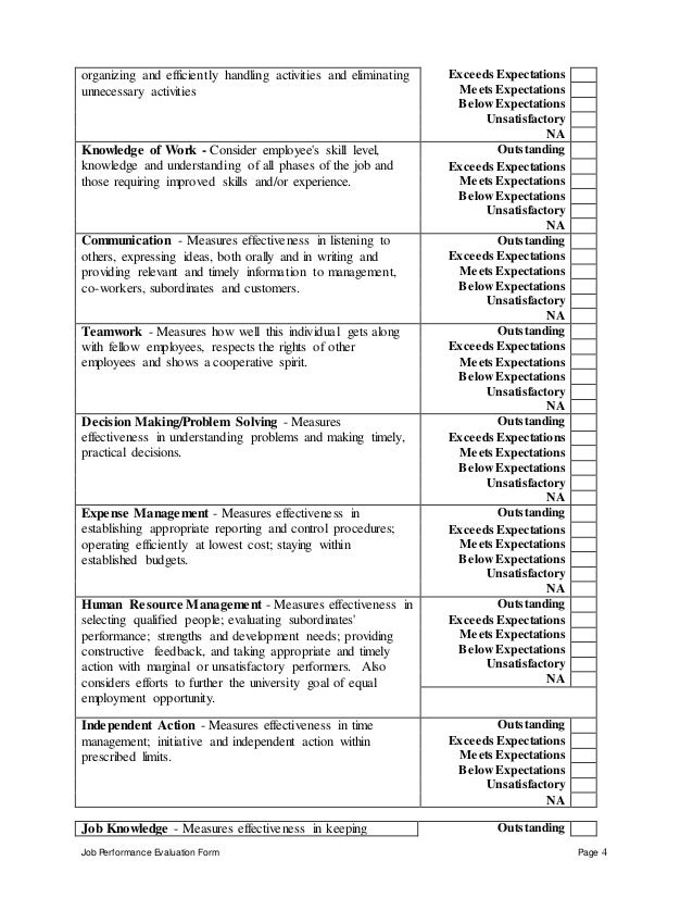 Administration   Measures Effectiveness In Planning, Outstanding; 4. Job  Performance Evaluation Form ...