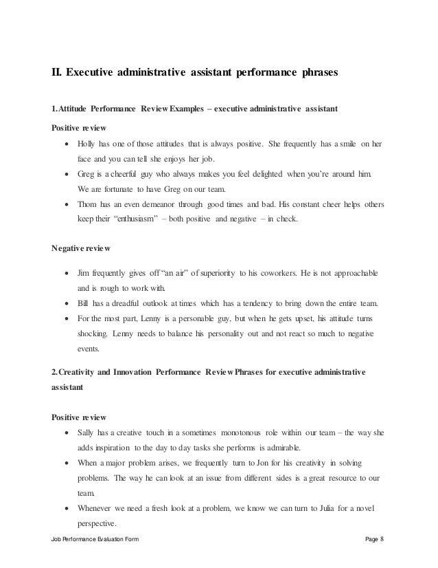 Performance appraisal sample wording.