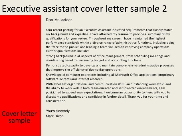 Yours Sincerely Mark Dixon; 3. Executive Assistant Cover Letter ...