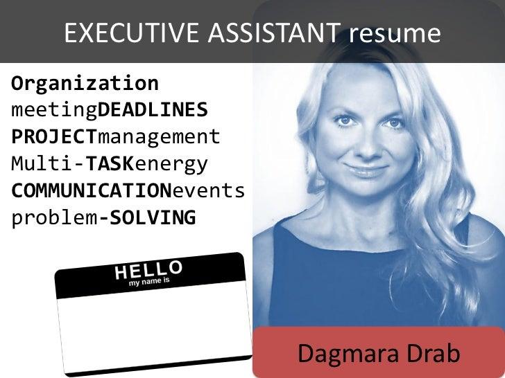 EXECUTIVE ASSISTANT resumeOrganizationmeetingDEADLINESPROJECTmanagementMulti-TASKenergyCOMMUNICATIONeventsproblem-SOLVING ...