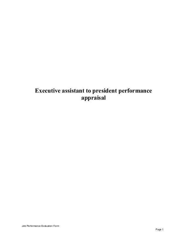 Executive assistant to president performance appraisal executive assistant to president performance appraisal job performance evaluation form page 1 fandeluxe Image collections