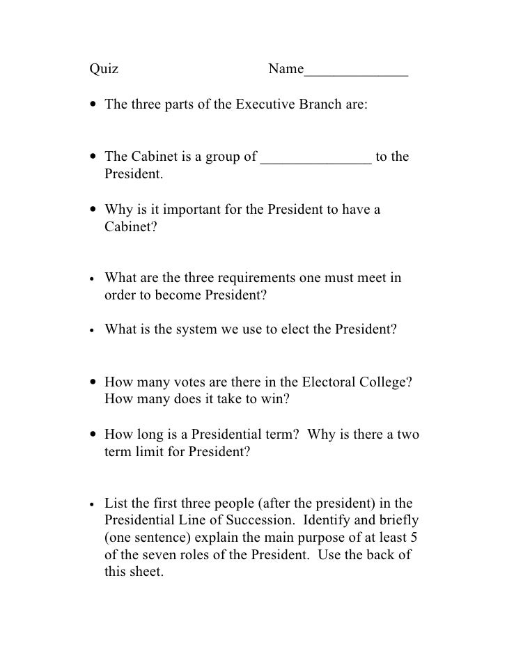 EXECUTIVE BRANCH QUIZ EPUB