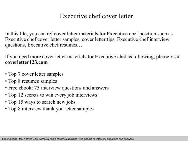 Executive chef cover letter for Cover letter for a cook position