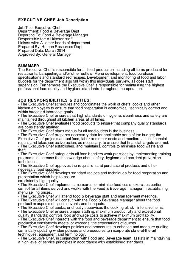 Executive Chef Job Description For Resume