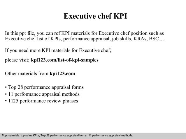 Executive chef KPI  In this ppt file, you can ref KPI materials for Executive chef position such as  Executive chef list o...