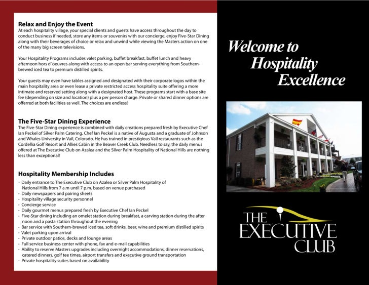 Relax and Enjoy the Event At each hospitality village, your special clients and guests have access throughout the day to c...