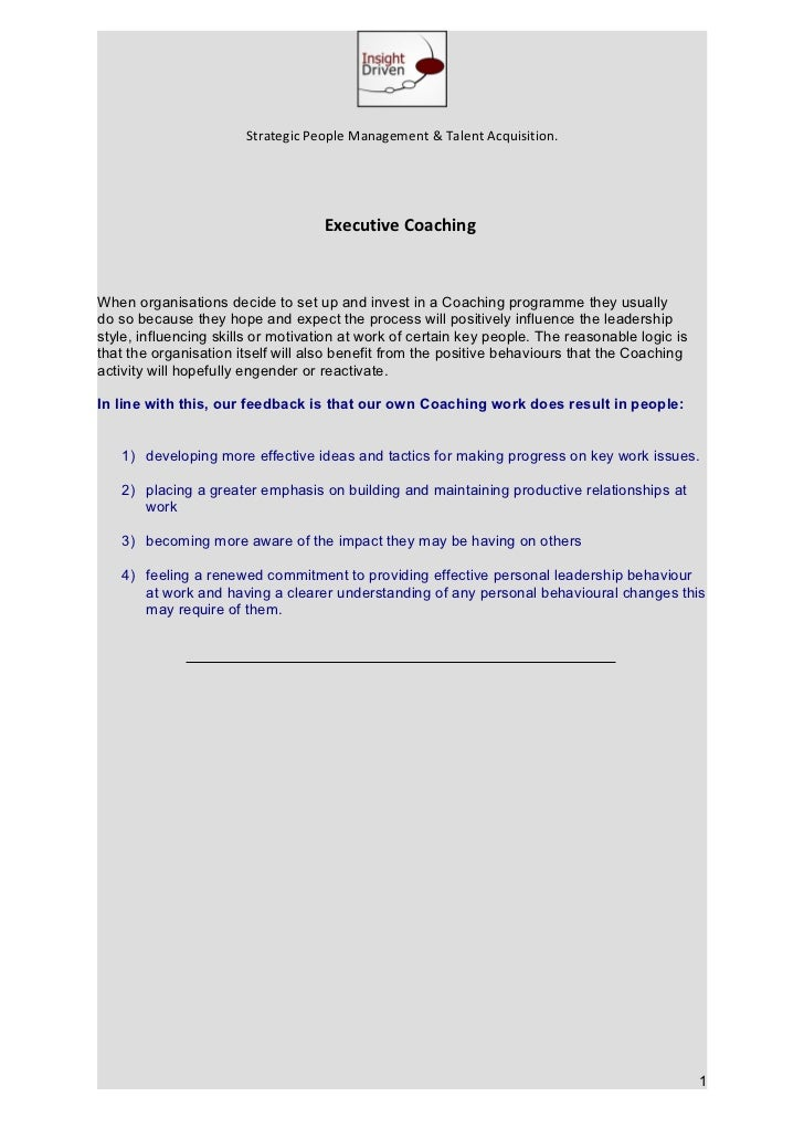 Strategic People Management & Talent Acquisition.                                    Executive CoachingWhen organisations ...