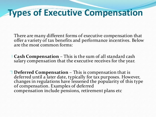 Stock options executive compensation packages