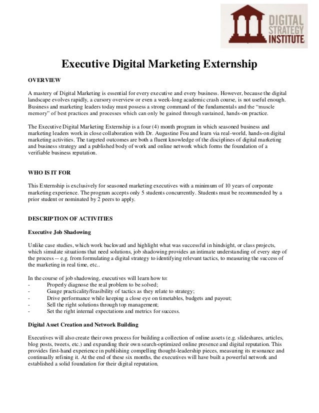 Executive Digital Marketing Externship OVERVIEW A mastery of Digital Marketing is essential for every executive and every ...