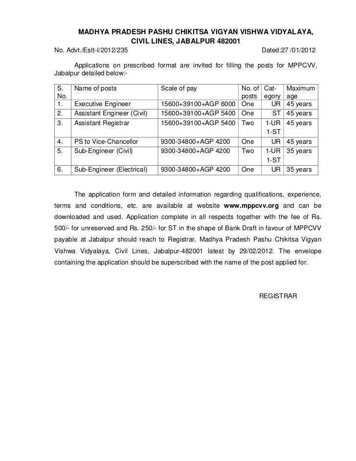 MADHYA PRADESH PASHU CHIKITSA VIGYAN VISHWA VIDYALAYA,                   CIVIL LINES, JABALPUR 482001No. Advt./Estt-I/2012...