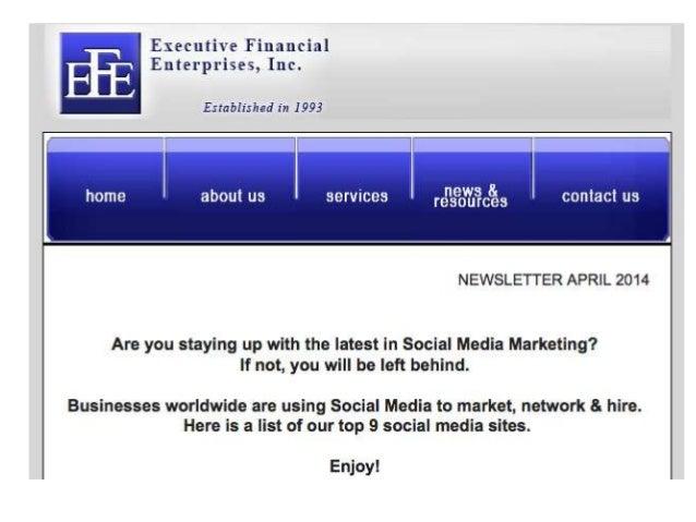 Executive Financial Enterprises April Newsletter