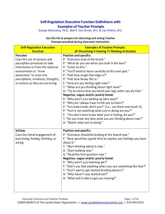 Self-Regulation Executive Function Definitions with Examples of Teacher Prompts  George McCloskey, Ph.D., Bob R. Van Divne...