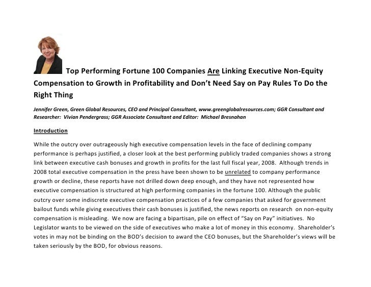 Top Performing Fortune 100 Companies Are Linking Executive Non-Equity Compensation to Growth in Profitability and Don't Ne...