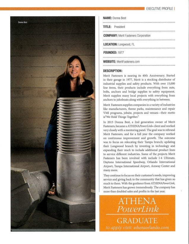 Donna Best, President of Merit Fasteners, A Certified WBE is featured in an Executive Profile as an Athena Powerlink Graduate