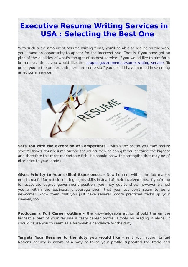 Executive Resume Writing Services In Usa Selecting The Best One