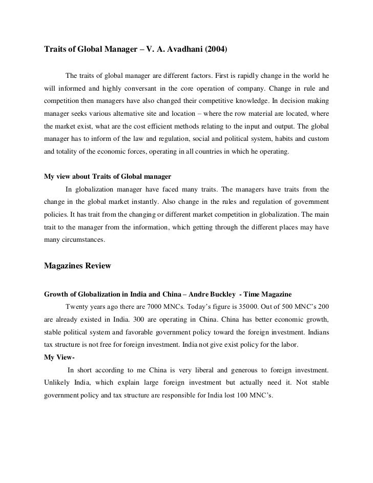 Traits of Global Manager – V. A. Avadhani (2004)       The traits of global manager are different factors. First is rapidl...