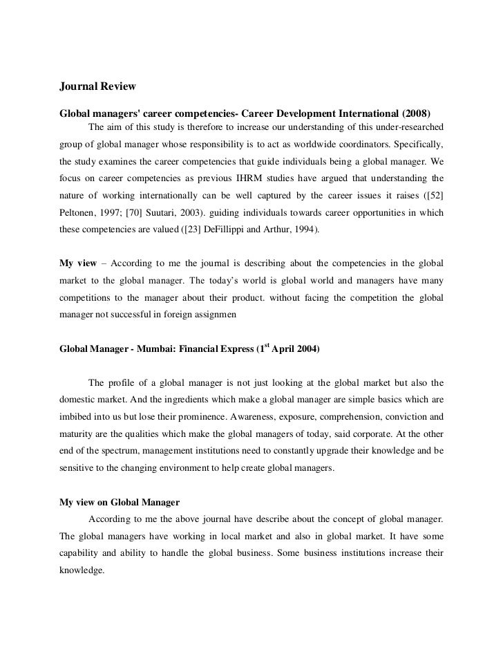 Journal ReviewGlobal managers career competencies- Career Development International (2008)       The aim of this study is ...