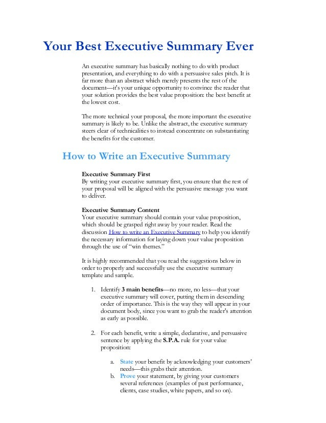 Your Best Executive Summary Ever An Executive Summary Has Basically Nothing  To Do With Product Presentation ...  An Executive Summary