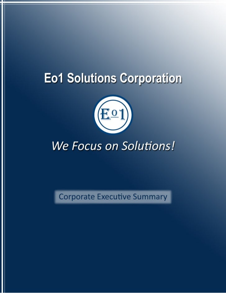 Executive SummaryAbout Eo1 Solutions CorporationFounded in 2001, Eo1 Solutions Corporation has carved a niche for itself a...