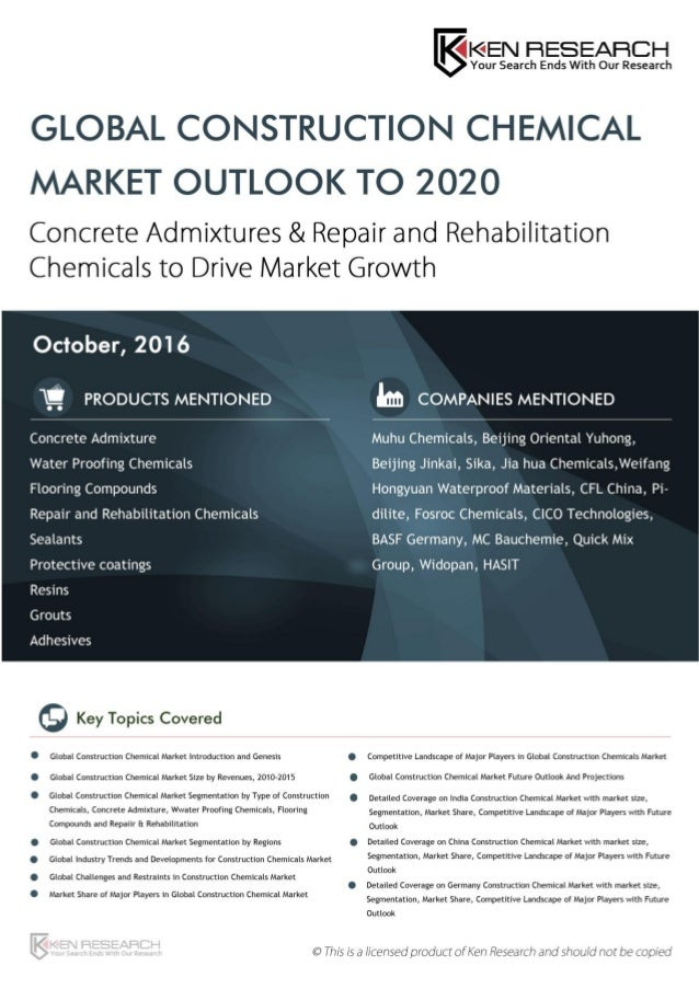 Global Construction Chemical Market Outlook to 2020: KenResearch com