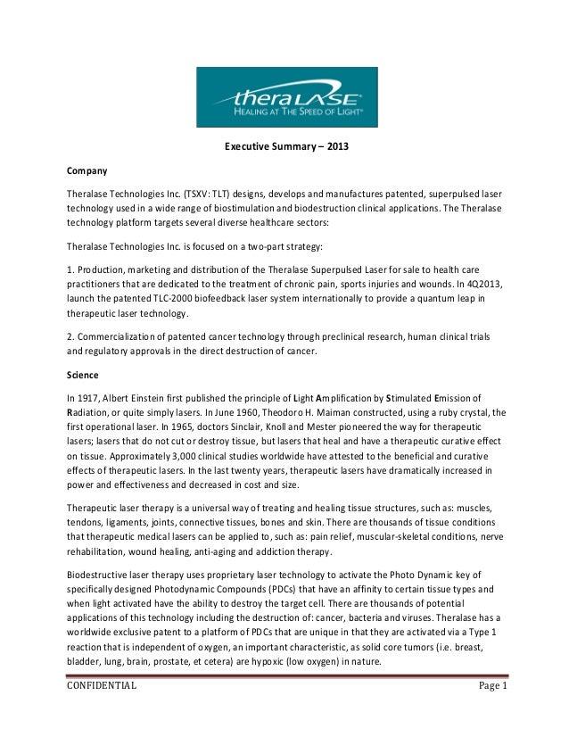 Theralase Inc Executive Summary 2013