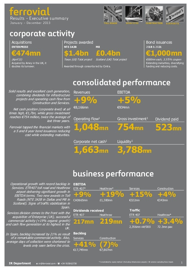 ferrovial  Results - Executive summary Januar y – D ecemb er 2 013  TOLL ROADS  SERVICES  CONSTRUCTION  AIRPORTS  corporat...