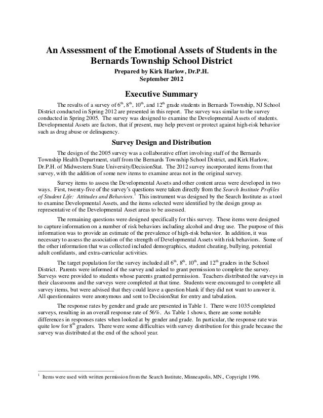 An Assessment of the Emotional Assets of Students in the               Bernards Township School District                  ...