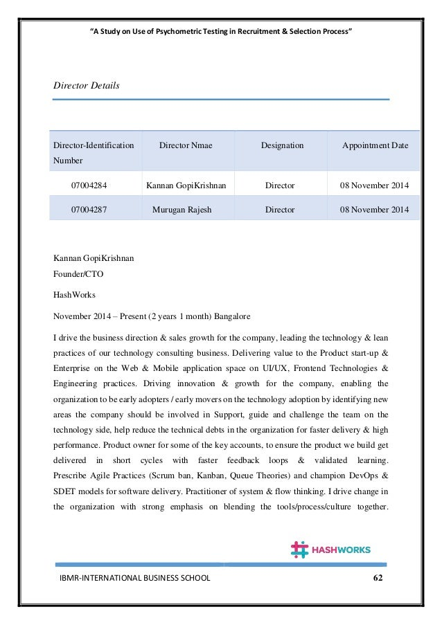 """""""A Study on Use of Psychometric Testing in Recruitment & Selection Process"""" IBMR-INTERNATIONAL BUSINESS SCHOOL 62 Director..."""