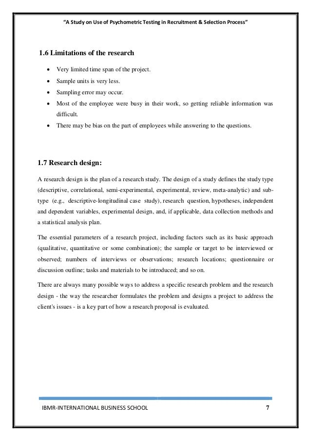 """""""A Study on Use of Psychometric Testing in Recruitment & Selection Process"""" IBMR-INTERNATIONAL BUSINESS SCHOOL 7 1.6 Limit..."""