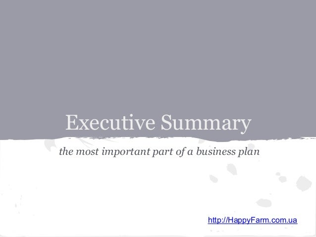why is an executive summary important to a business plan