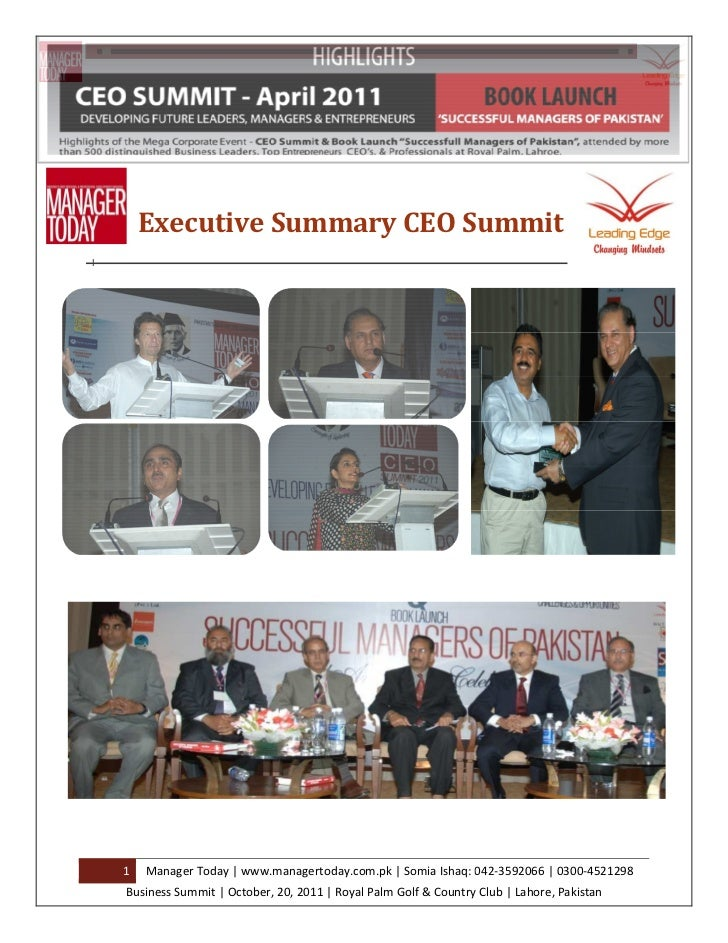 Executive Summary CEO Summit1   Manager Today | www.managertoday.com.pk | Somia Ishaq: 042-3592066 | 0300-4521298Business ...