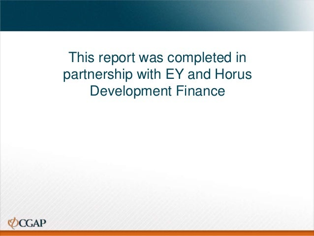 This report was completed in partnership with EY and Horus Development Finance